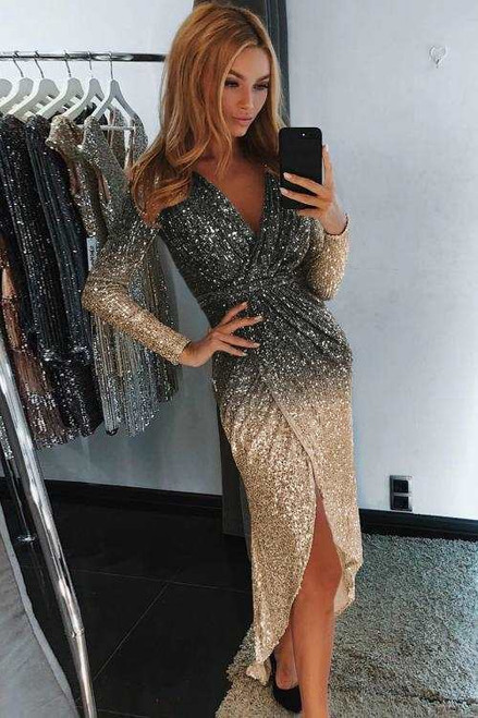Ombre Sequin Wrapped Ruched Irregular Dress