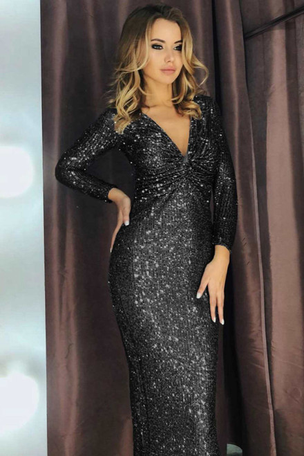 Long Sleeve V Neck Twist Ruched Sequin Party Maxi Dress