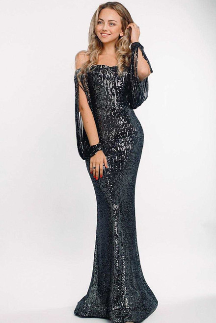 Off Shoulder Tasseled Sleeve Sequin Party Maxi Dress