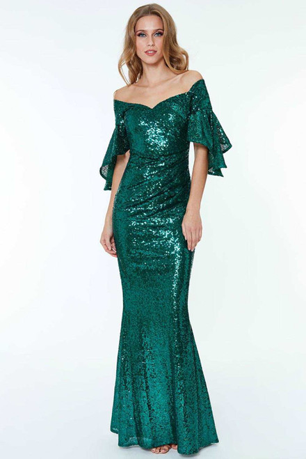 Off The Shoulder Sequined Maxi Dress