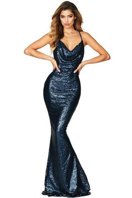 Navy Daring Bare Back Sequined Mermaid Gown