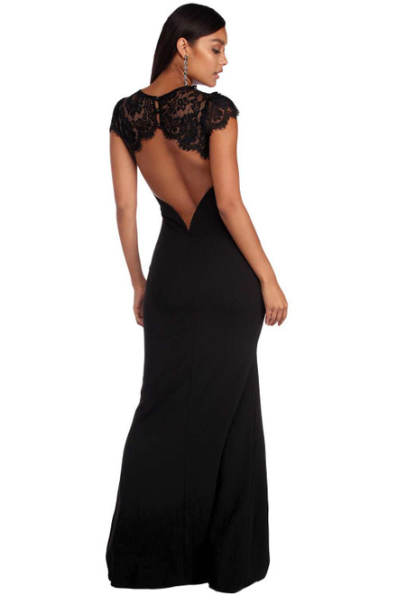 Black Lace Splice Open Back Evening Dress