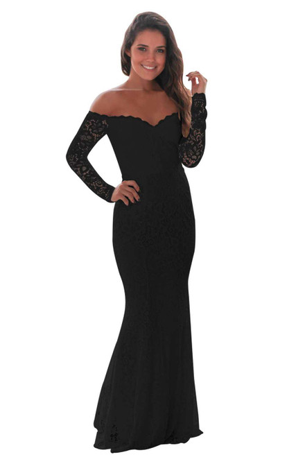 Crochet Off Shoulder Maxi Evening Party Dress