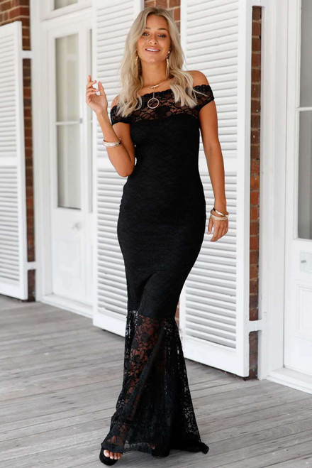 Bardot Lace Fishtail Maxi Dress