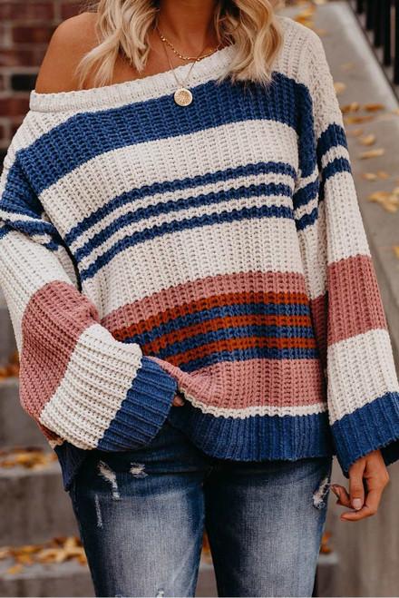 Striped Pattern Knit Sweater For Women