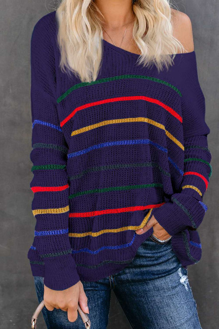 Striped Knit Stylish Sweater For Women