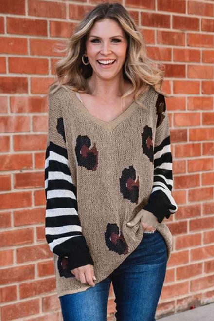 V Neck Leopard Sweater For Women