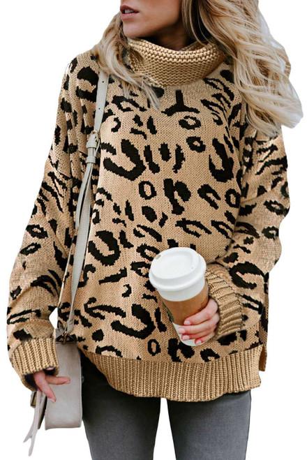 Khaki Leopard Cozy Long Sleeves Turtleneck Sweater