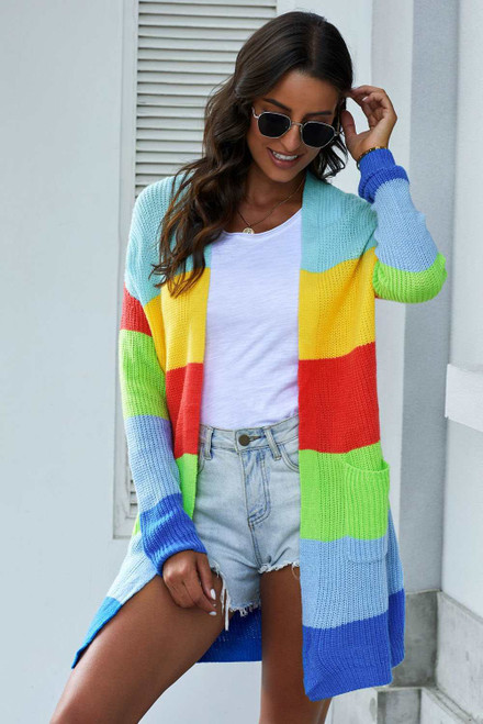 Rainbow Color Block Open Front Drape Oversized Knitted Cardigan