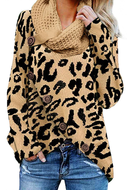 Khaki Leopard Print Casual Knitted Sweater