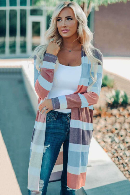 Multi Color Stripe Textured Open Cardigan