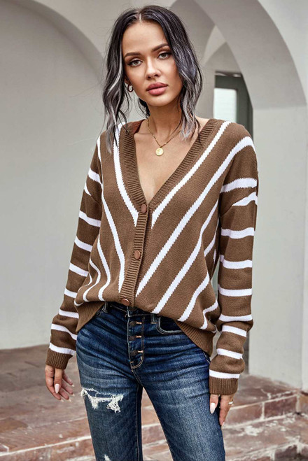 Khaki V Neck Stripe Long Sleeve Cardigan