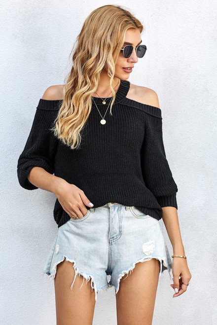 Black Cool Breeze Cotton Cold Shoulder Sweater
