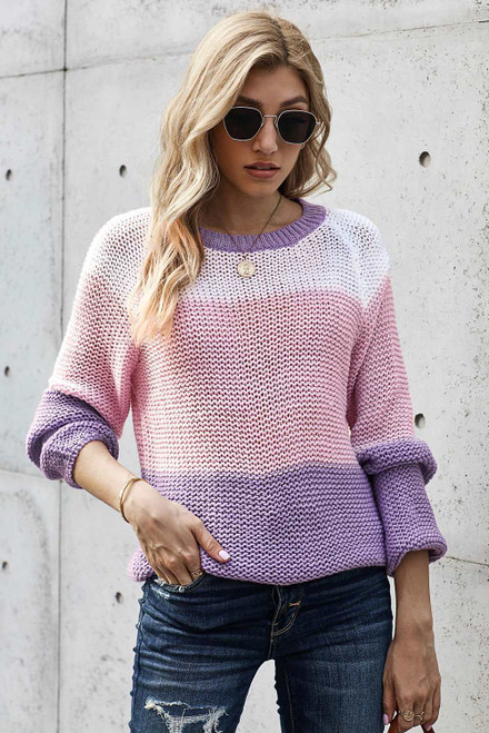 Colorblock Knit Sweater For Women
