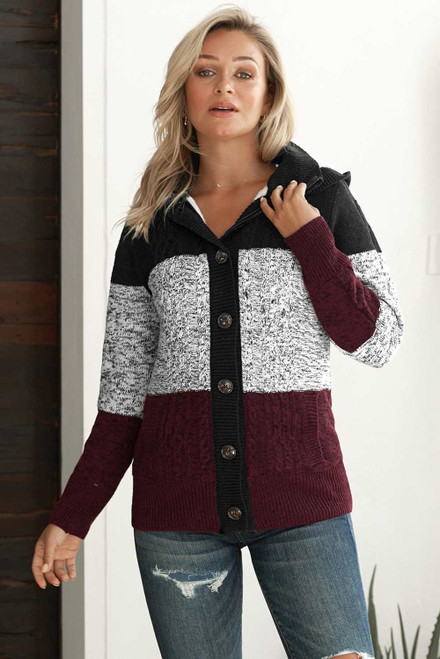 Hooded Button Cable Knit Cardigan