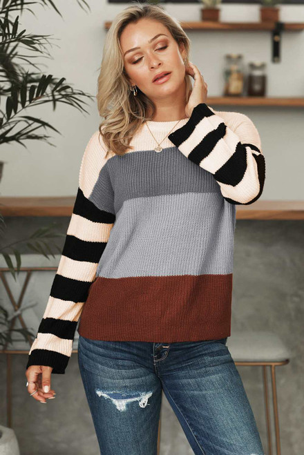 Crew Neck Color Block Oversized Pullover Knit Sweater