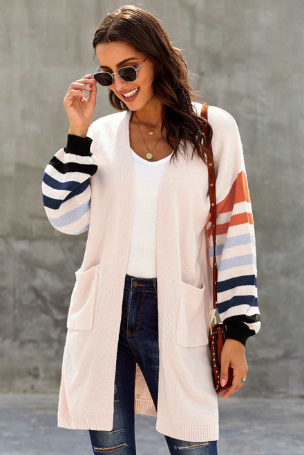 Creamy Striped Sleeve Cardigan