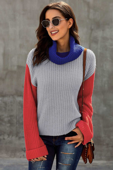 Long Sleeve Turtleneck Color Block Pullover Knit Sweater