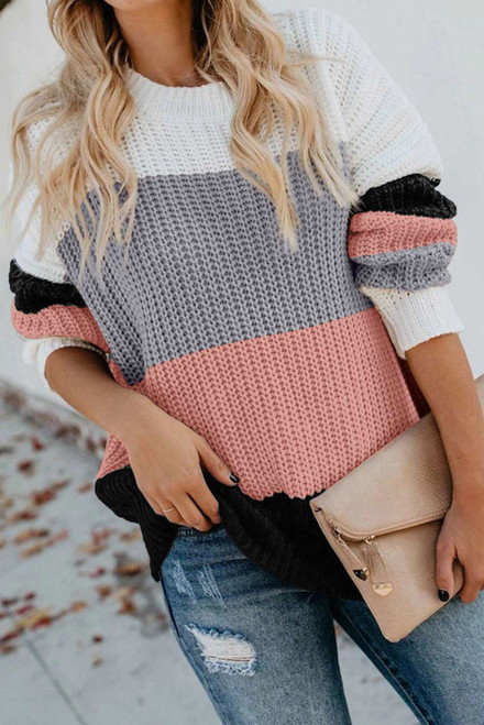 Casual Colorblock Sweater For Women