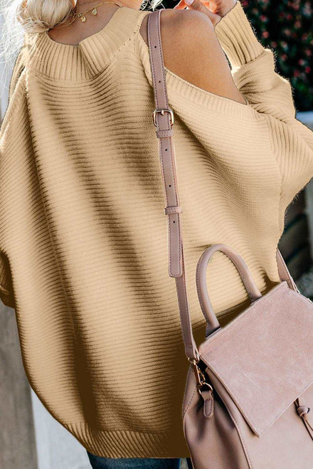 Apricot Cold Shoulder Pullover Sweater