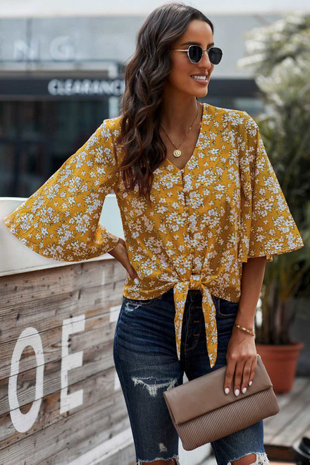 Floral Print Button Tie Top For Women