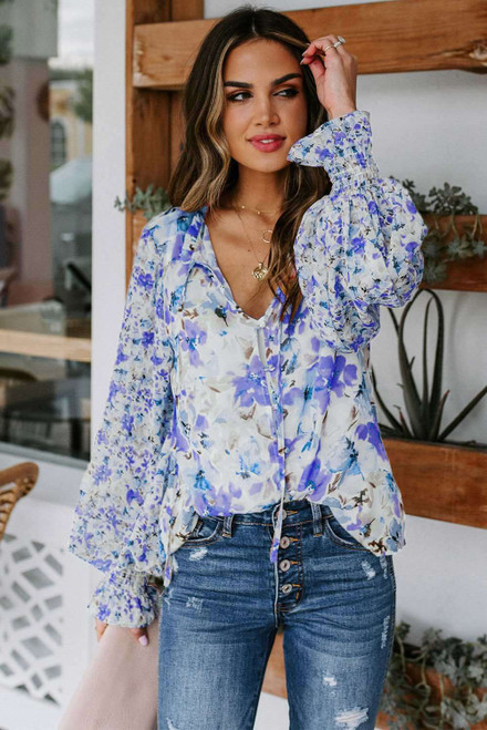 Cakewalk Floral Smocked Blouse For Women
