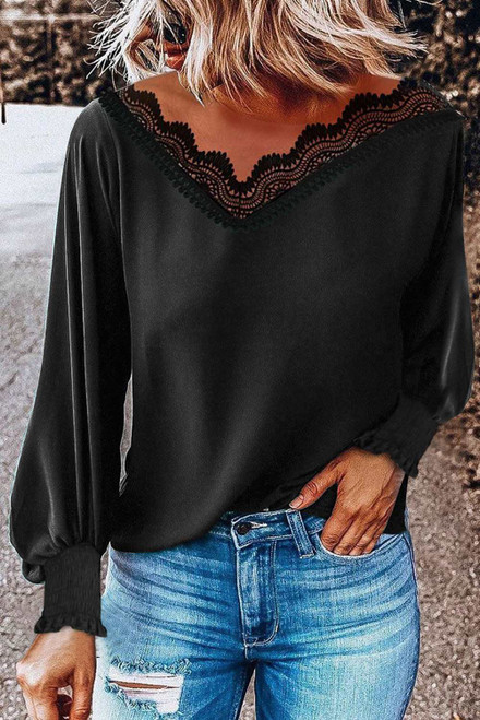 V Neck Lace Patchwork Blouse For Women