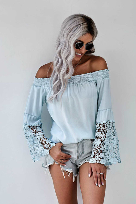 Off Shoulder Crochet Hem Top For Women