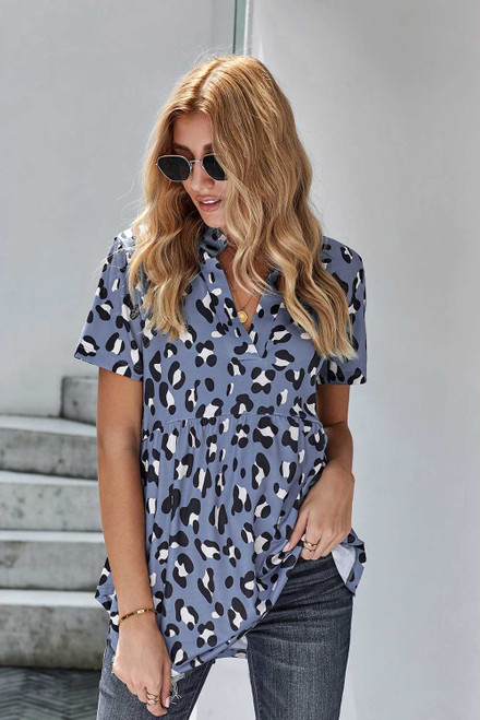 Leopard Collared Baby Doll Top