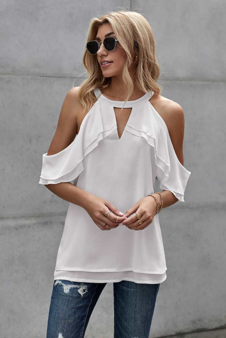 Ruffled Cold Shoulder Blouse