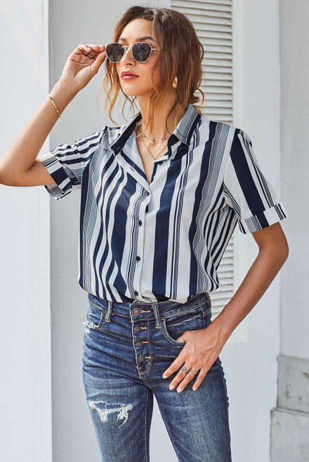 Striped Short Sleeve Button Up Shirt