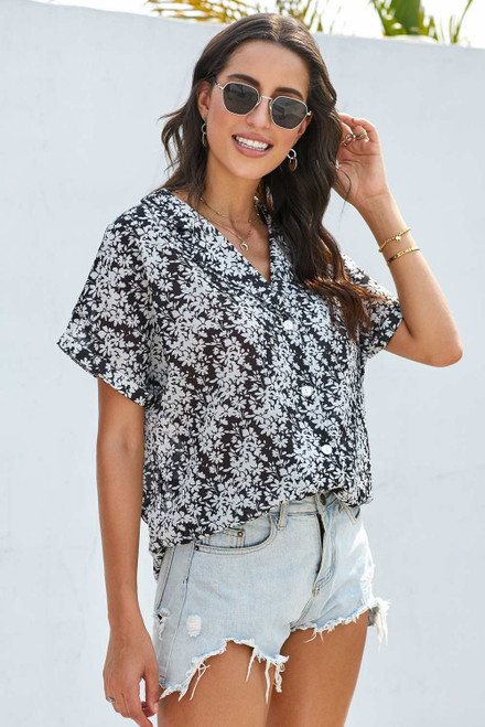 Printed Button Front Top For Women