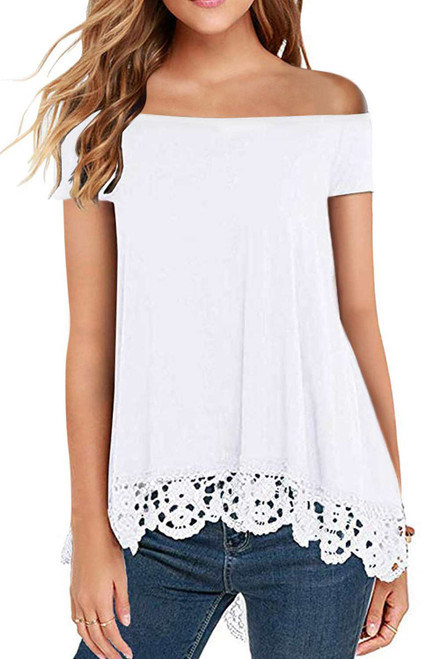 Off Shoulder A-Line Lace Trim Blouse