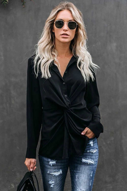 Black Button Down Twist Blouse