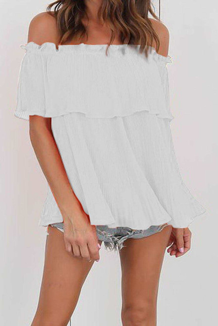 Off-Shoulder Pleated Ruffle Blouse