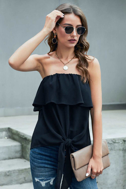 Black Oceanside Ruffle Strapless Tie Top
