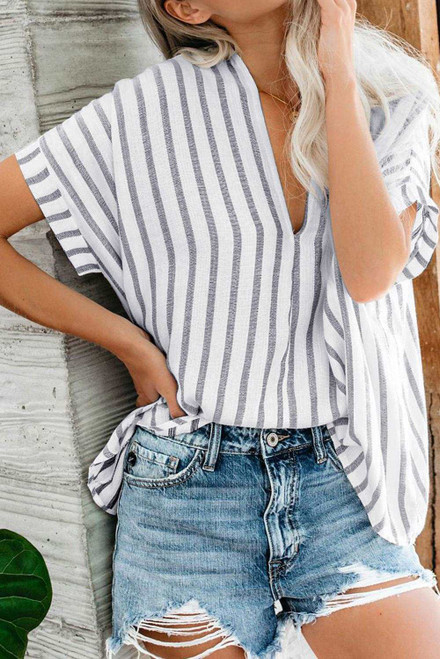 Windows Down Striped Cotton Top