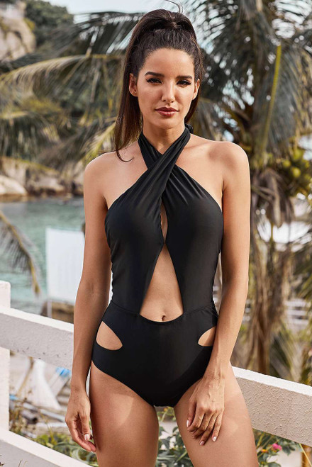 Cross Halter Neck Hollow Out One-piece Swimwear