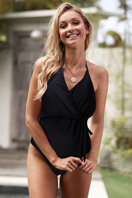 Wrap V Neck Sash Backless One-piece Swimwear