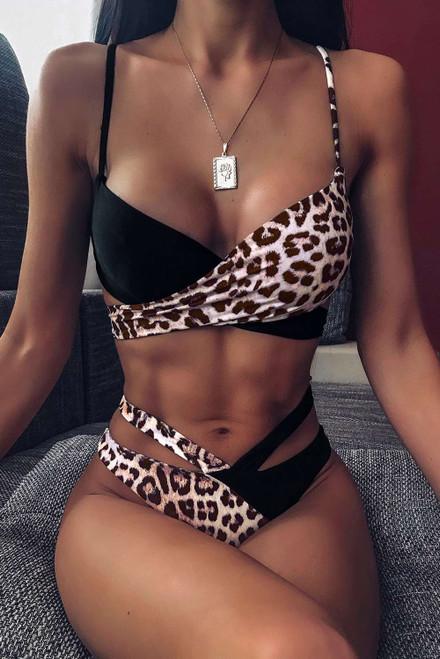 Leopard Printed Splicing Tie Bikini Set