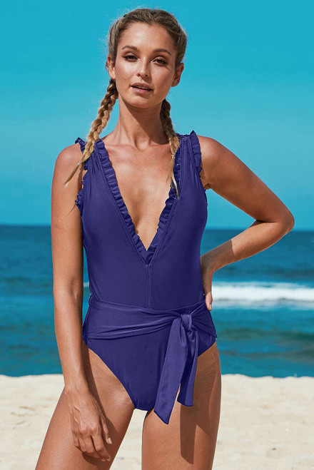 Deep V Neck Frill Detail One-piece Swimwear with Belt