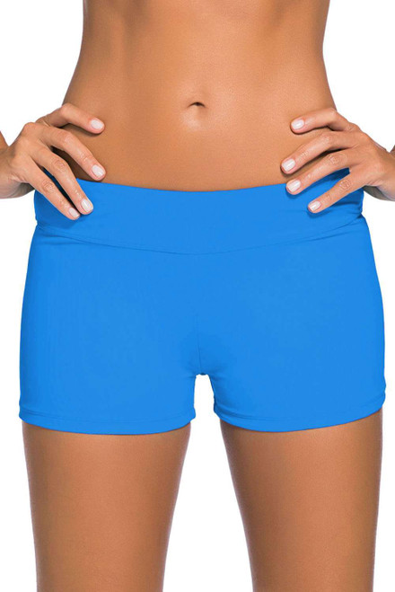Blue Wide Waistband Swimsuit Bottom Shorts