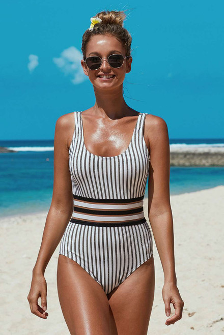 Striped Pattern Banded Waist One-piece Swimwear