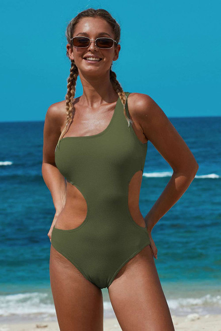 One Shoulder Cut Out Maillot