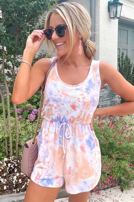 Lavender Peach Tie Dye Romper