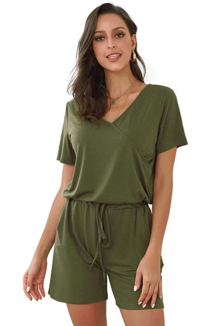 Casual Loose Short Sleeve Romper with Pockets