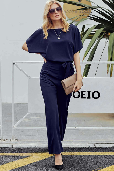 Blue Oh So Glam Belted Wide Leg Jumpsuit