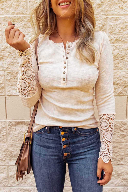 Beige Crochet Lace Hem Sleeve Button Top