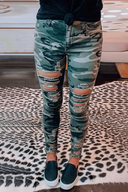 Green Camouflage Hollow out Skinny Jeans with Pocket