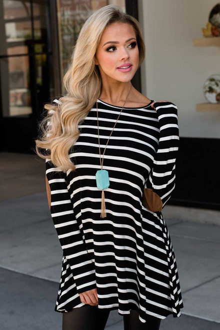 Stripe Elbow Patch Button Back Tunic Top
